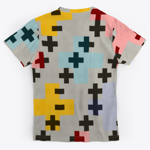 Abstract Pink Multicolor Cross Design Standard T-Shirt Back