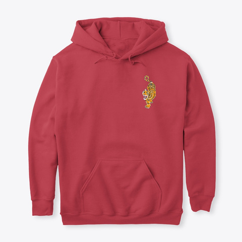 Bold Tiger Hoodie For Men And Women Cardinal Red T-Shirt Front