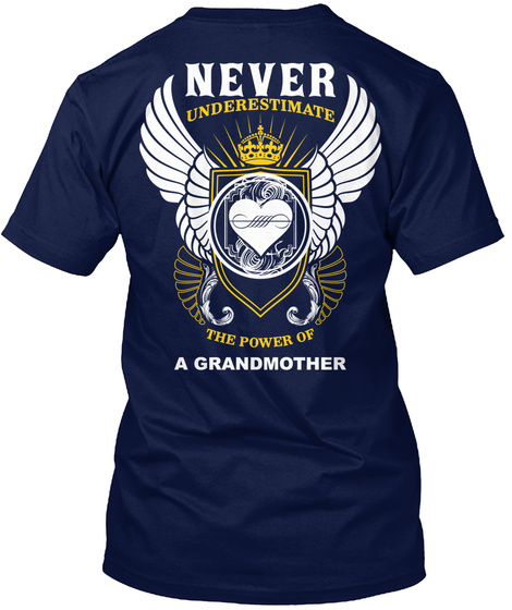 Never Underestimate The Power Of Navy T-Shirt Back