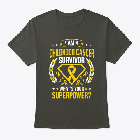 What's Your Superpower Childhood Cancer Smoke Gray T-Shirt Front