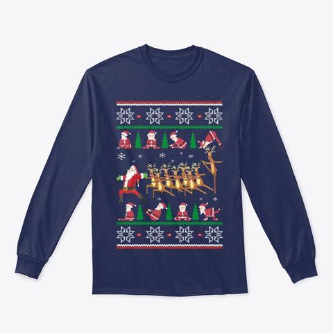 Yoga Christmas Navy T-Shirt Front