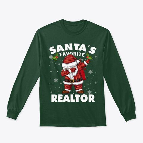 Funny Christmas Santa Dabbing Forest Green T-Shirt Front
