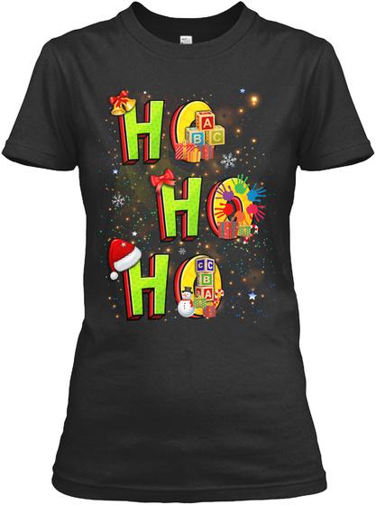 Ho Ho Ho Black T-Shirt Front