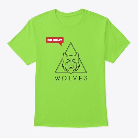 Wolves X No Bully Limited Edition Tee Lime T-Shirt Front