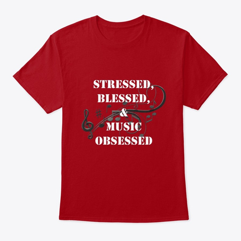 Music Obsessed Deep Red T-Shirt Front