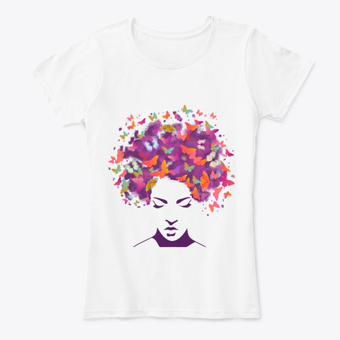 Black Women   Butterfly Colorful Style White T-Shirt Front