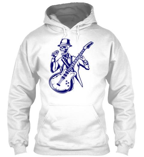 Rock N Roll Skeleton 04 White T-Shirt Front