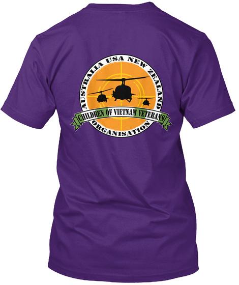 Australia Usa New Zealand Children Of Vietnam Veterans Organisation Purple T-Shirt Back