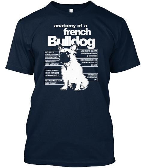 Anatomy A French Bulldog New Navy T-Shirt Front