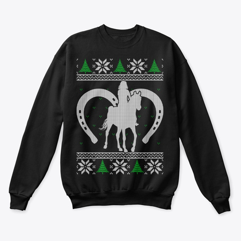 Horse Lovers Ugly Christmas Sweater Black T-Shirt Front