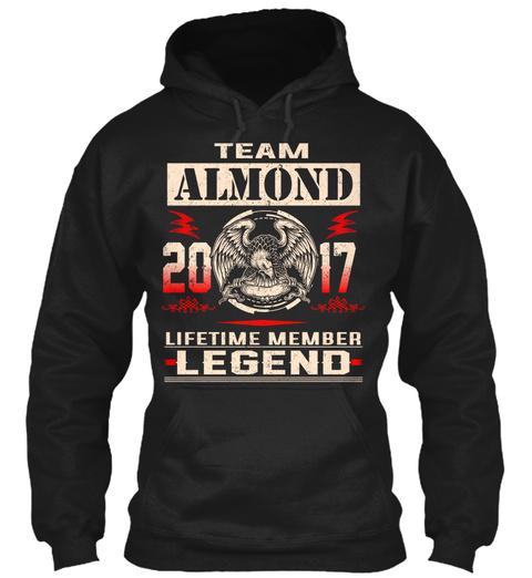 Team Almond 2017 Black T-Shirt Front