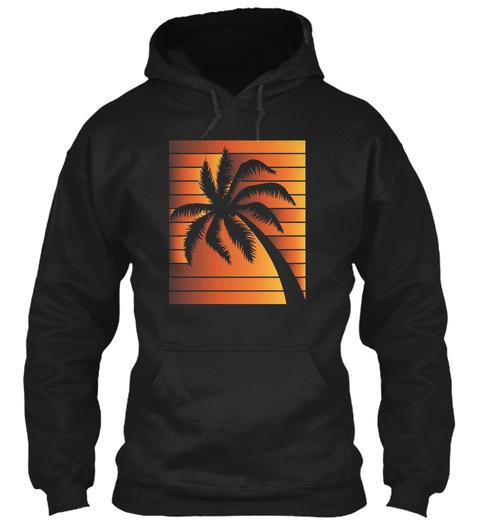 Mens Orange Tropical Palm Tree T Shirt X Black T-Shirt Front