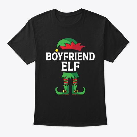 Boyfriend Elf Costume Christmas Matching Black T-Shirt Front