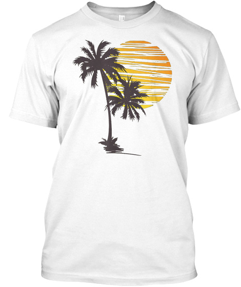 Sunset Beach Palm Tree Summer Vacation White T-Shirt Front