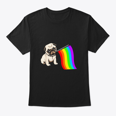 Pug Dog Rainbow Flag Lgbt T Shirt Gay Black T-Shirt Front