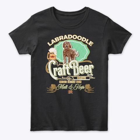 Labradoodle Gifts Dog Beer Lover Black T-Shirt Front