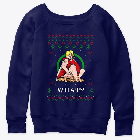 Smoking Woman Ugly Christmas Sweater Navy  T-Shirt Front