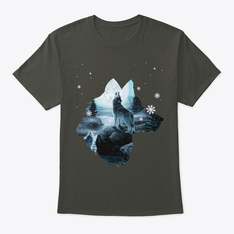 Snowing Wolves T Shirt Christmas Holiday Smoke Gray T-Shirt Front