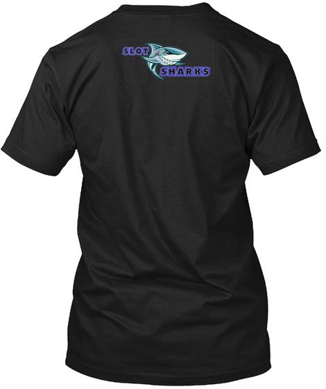 Caution   Sharks Ahead Black T-Shirt Back