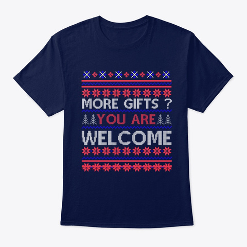 Ugly Christmas Sweater Santa Reindeer Navy T-Shirt Front