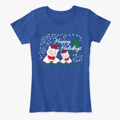 Cute Christmas Cats Deep Royal  T-Shirt Front