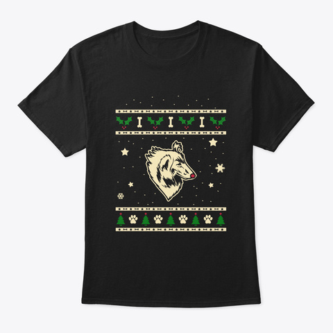 Christmas Rough Collie Gift Black T-Shirt Front