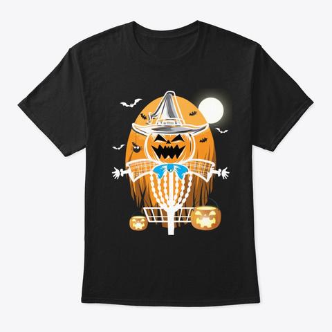 Disc Golf Halloween Jack O Lantern Witch Black T-Shirt Front