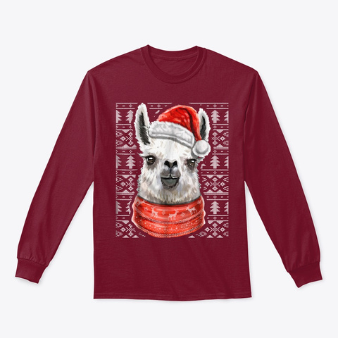 Ugly Christmas Sweater Llama Shirt Cardinal Red T-Shirt Front