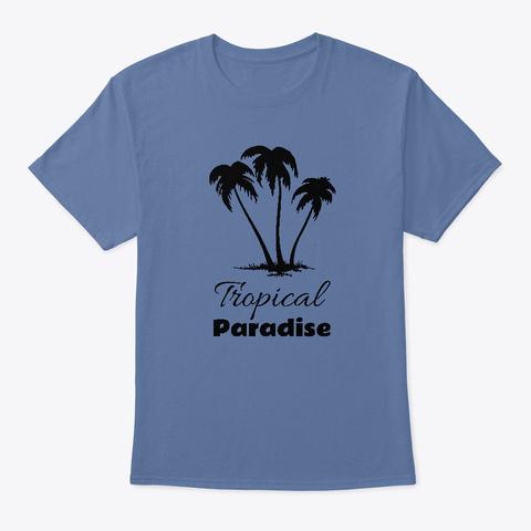 Tropical Paradise Palm Trees Denim Blue T-Shirt Front