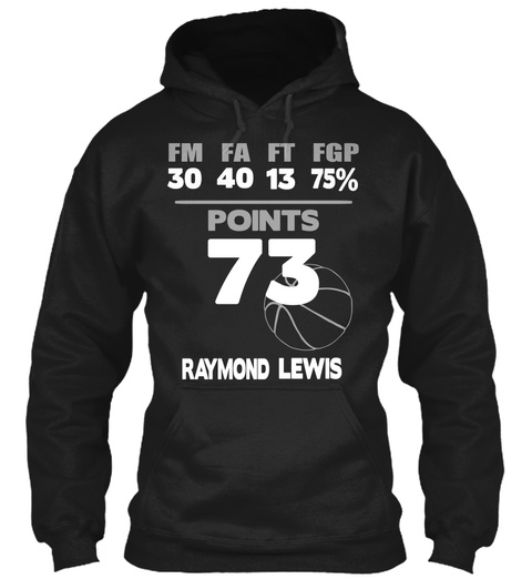 40 30 13 75%   Points 73 Lewis Raymond Black T-Shirt Front