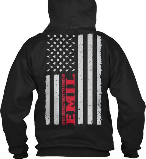 Power Of  Emil Flag ! Black T-Shirt Back