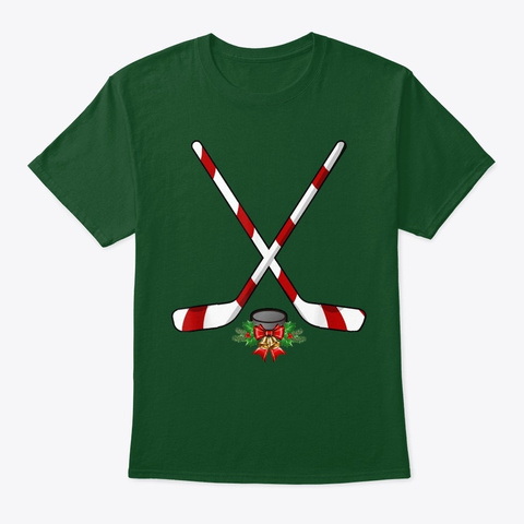 Funny Ice Hockey Christmas Shirt Candy Deep Forest T-Shirt Front