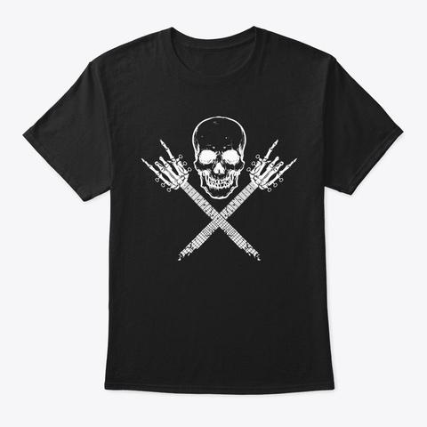 Skull Skeleton Guitar Rock Gifts Black T-Shirt Front