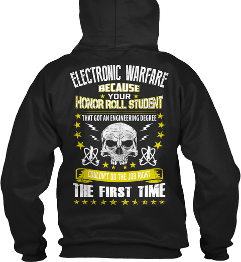 Electronic Warfare Honor Roll Black T-Shirt Back