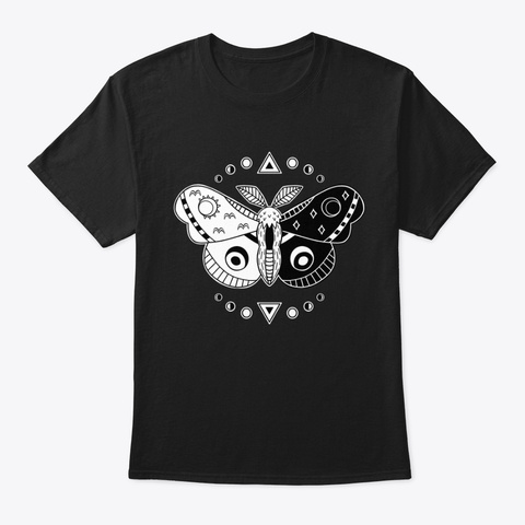 Day And Night Moth Black T-Shirt Front