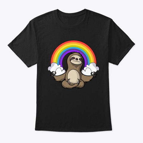 Sloth Yoga Black T-Shirt Front