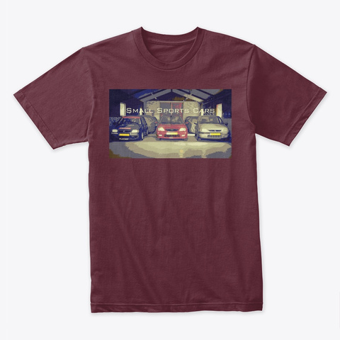Small Sports Cars Maroon T-Shirt Front