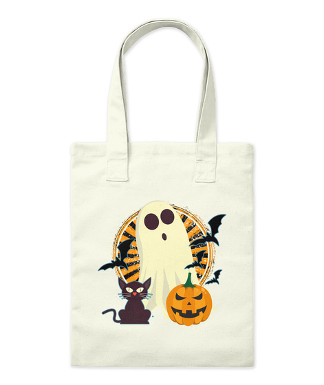 Halloween Ghost Tote Natural Tote Bag Front