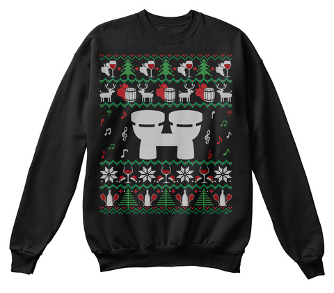 Wine Bongo Drums Ugly Christmas Sweater Black T-Shirt Front