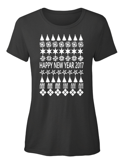 Happy New Year 2017 Black T-Shirt Front