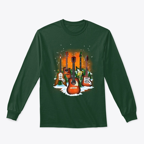 Christmas Guitars Forest Green T-Shirt Front