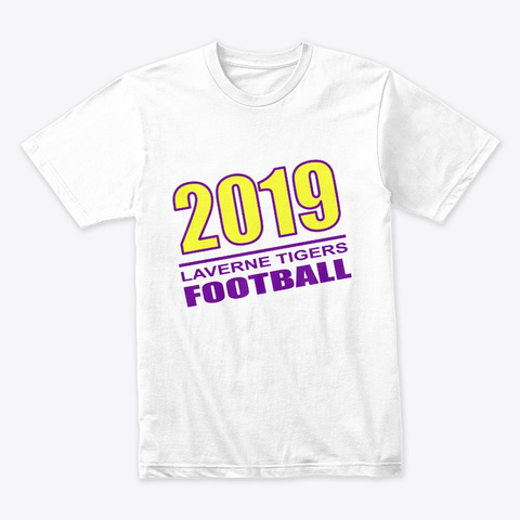2019 Laverne Tigers Football White T-Shirt Front
