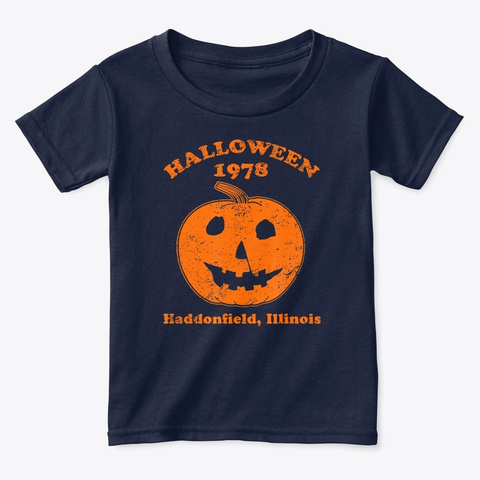 Halloween 1978 Holiday Spooky Pumpkin  Navy  T-Shirt Front