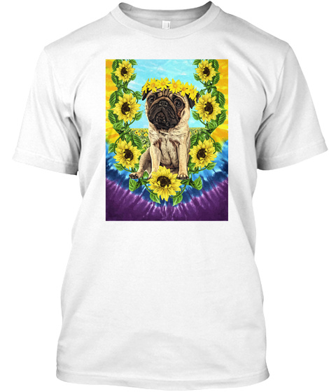 Sunflower Pug Daydreams White T-Shirt Front