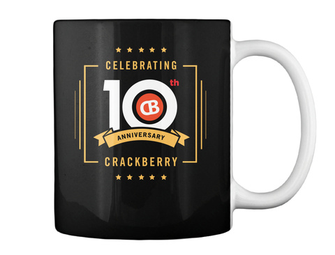 Celebrating 10 Th Anniversary Crackberry Black Mug Back