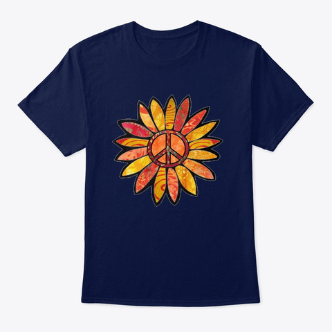 Peach Citrus Peace Sign Flower  Navy T-Shirt Front