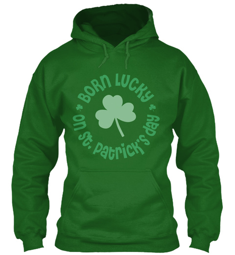 Born Lucky On St.Patrick's Day Irish Green T-Shirt Front