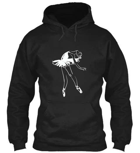 Hoodie Ballet Pointe Dancer White Black T-Shirt Front