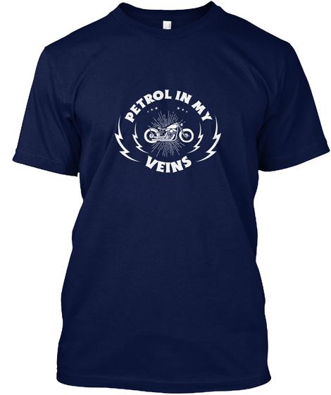 Petrol In My Veins   Motorbike T Shirt Navy T-Shirt Front