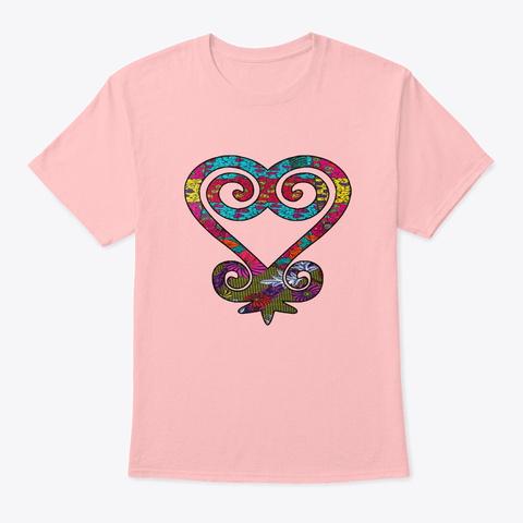 Pretty African Print Sankofa Heart Pale Pink T-Shirt Front